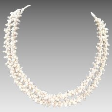 Double Strand Woven White Glass Bead Necklace