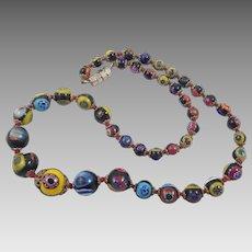 Vintage Italian Millefiori Graduated Bead Necklace