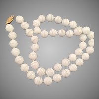 White and Clear Glass Beaded Necklace Knotted
