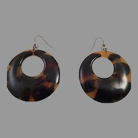 Vintage Faux Tortoiseshell Large Hoop Earrings