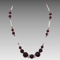 Art Deco Czech Red and White Glass Necklace