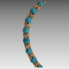 Vintage Turquoise Glass and Gold Tone Beaded Necklace