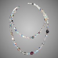 Vintage Single Strand Multi-Colored Crystal Bead Necklace