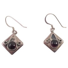 Sterling and Cabochon Garnet Pierced Earrings - Red Tag Sale Item