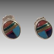 Zuni Sterling Earrings With Inlaid Stones Artist Signed