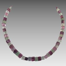 Genuine fluorite square cut beaded necklace Sterling Clasp