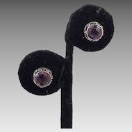 Amethyst and Sterling Balinese Pierced Earrings