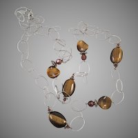 Tiger Eye and Silver Tone Long Necklace Made In Germany