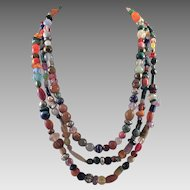 Colorful Three Strand Beaded Necklace Some Gemstones