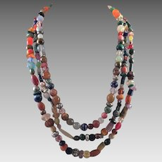Colorful Chunky Three Strand Beaded Necklace Some Gemstones