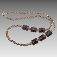 Vintage Smoky Quartz and Garnet Crystal Necklace