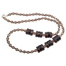 Vintage Smoky Quartz and Garnet Crystal Necklace