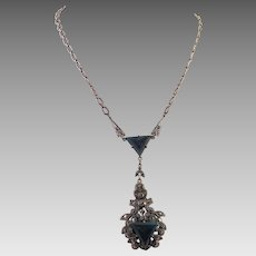 Art Deco 1920's Sterling Marcasite Blue Stone Pendant Necklace