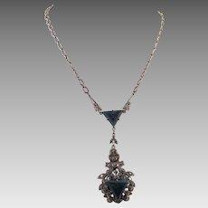 Art Deco 1920's Sterling Marcasite Blue Stone Pendant Necklace