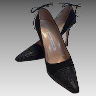 Manolo Blahnik Black Fabric and Faux Lizard Shoes Pumps 37 1/2