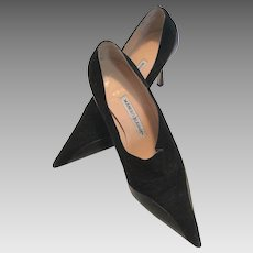 Manolo Blahnik Black Suede and Leather Shoes Made In Italy 37 1/2