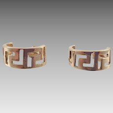 14K Yellow Gold Half Hoop Earrings Greek Key Design