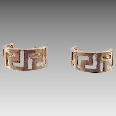 14K Yellow Gold Half Hoop Earrings Greek Key Design