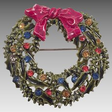 Vintage Christmas Wreath Pin By ART