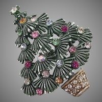 Vintage Painted Rhinestone Christmas Tree Pin