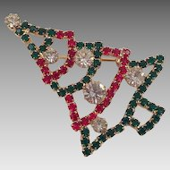 Vintage Red, Green, Clear Rhinestone Christmas Tree Pin