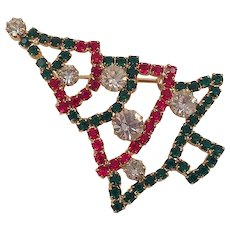 Vintage Red, Green, Clear Rhinestone Christmas Tree Pin