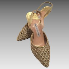 Manolo Blahnik Slingback Gold Lame Evening Shoes Size 37 1/2