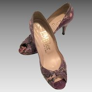Vintage I. Miller Purple Snakeskin Peep Toe Shoes Size 7