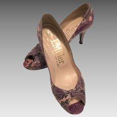 Vintage I. Miller Purple Snakeskin Peep Toe Shoes Size 7