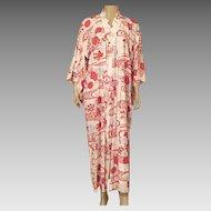Vintage Japanese Kimono Red, White, Silver
