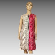 1970's Adele Simpson Silk Red White Black Shift Dress