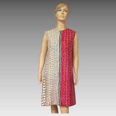 1970's Adele Simpson Silk Red White Black Shift Dress