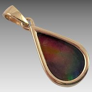 Canadian 18K Gold Ammolite Tear Drop Pendant