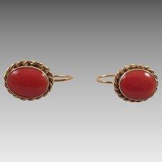 Vintage 18K Gold Mediterranean Coral Earrings