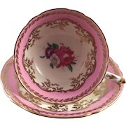 Paragon Floral Cup and Saucer Pink White Gold