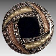 European Art Deco Style Guilloche Enamel Pin With Rhinestones