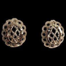 14K Yellow Gold Filigree Pierced Earrings