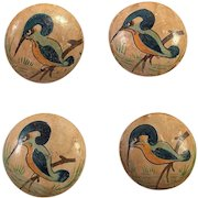Set Of Four Hand Painted Bird Buttons