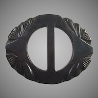 Dark Green Carved Bakelite Belt Buckle