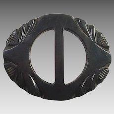 Dark Green Carved Bakelite Belt Buckle