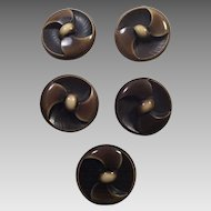 Five Large Brown and Beige Plastic Coat Buttons