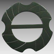 Art Deco Olive Green Bakelite Carved Belt Buckle