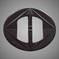 Dark Brown Bakelite Belt Buckle
