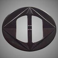 Dark Brown Bakelite Belt Buckle