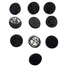 Set Of Ten Victorian Floral Black Glass Buttons
