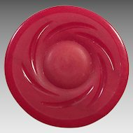 Large Red Carved Bakelite Button
