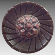 Large Brown Carved Bakelite and Copper Coat Button