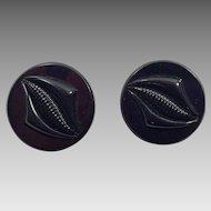 Pair of Black Plastic Coat Buttons