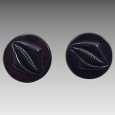 Pair of Black Plastic Coat Buttons