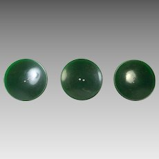 Three Large Green Bakelite Coat Buttons